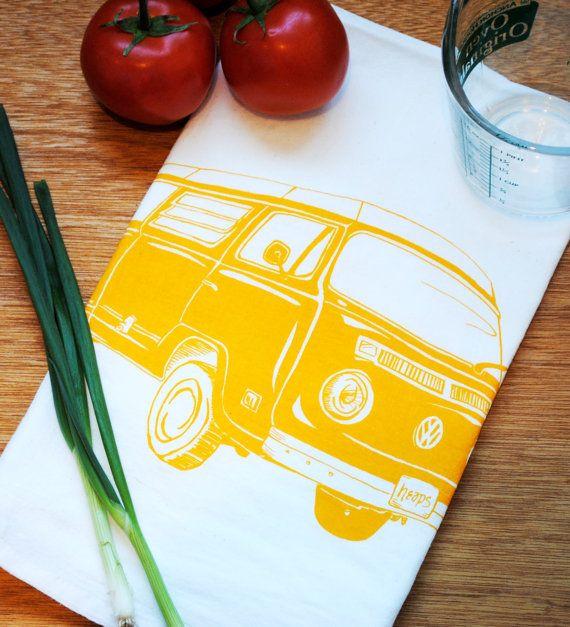 Jaune VW Van torchon - écran imprimé coton bio farine sac serviette - éco - Vintage 70 ' s Volkswagen - cadeaux de registre de mariage