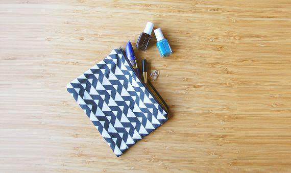 Zipper pouch  makeup bag  pencil case  chevron by FindingNorth
