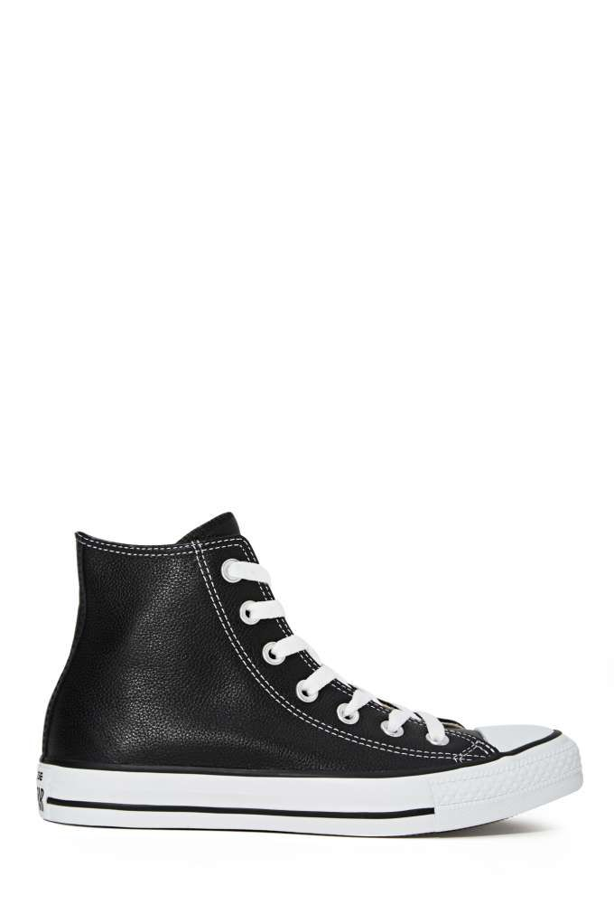 Converse All Star High-Top Sneaker - Black Leather   Shop Sneakers at Nasty Gal
