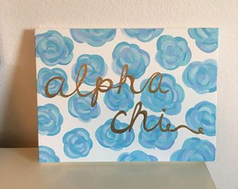 Lily Pulitzer Inspired Blue Floral Sorority Canvas // alpha chi omega canvas