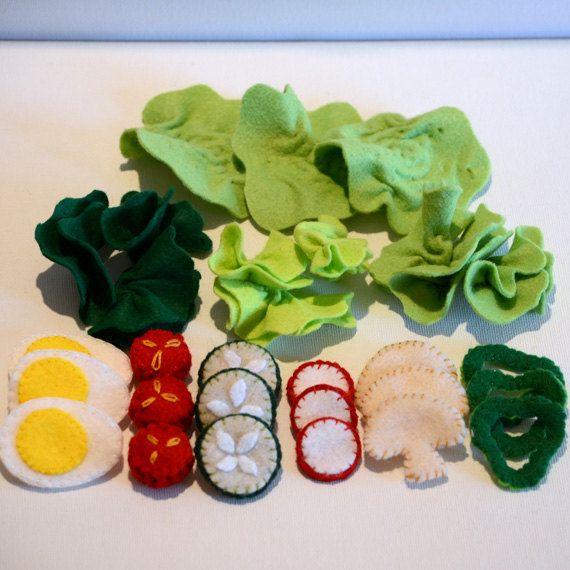 Felt Food Large Green Salad Children's Play Food by FeltFarmMarket