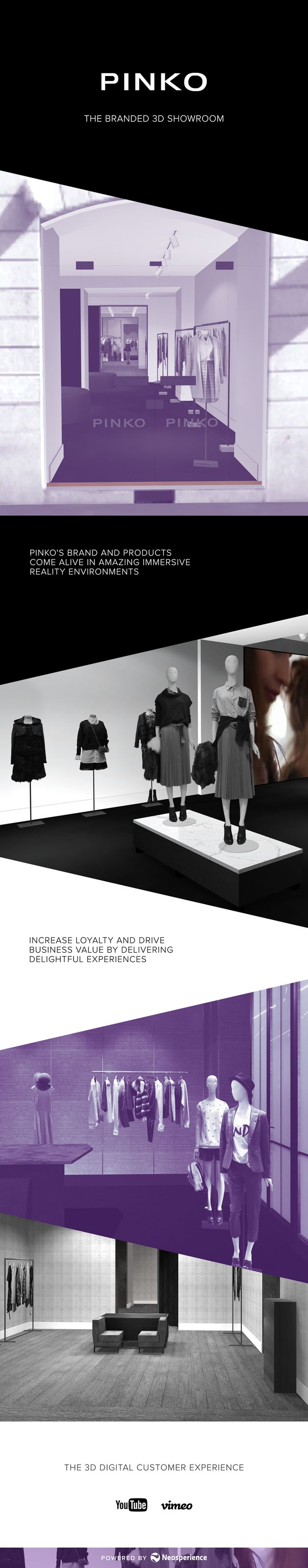 Pinko's brand and products come alive in a branded 3D showroom, to increase loyalty and drive business value.