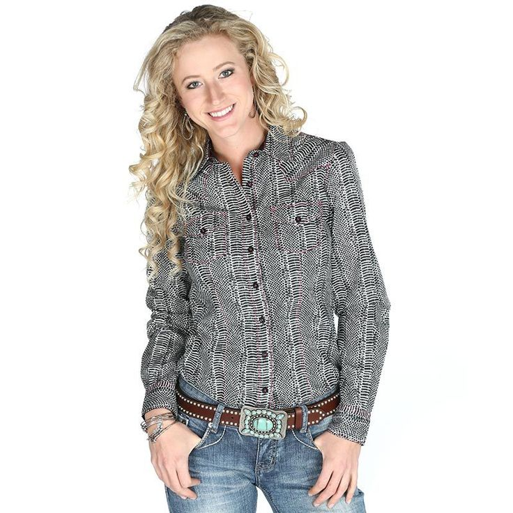 Women's Cruel Girl Black and White Printed Long Sleeve Button Down