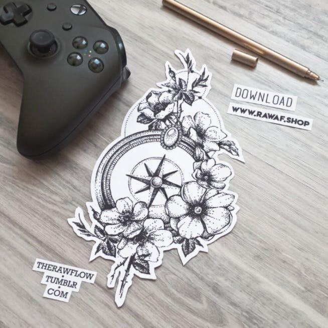 Kompass mit Blumen, Sie können dieses Design herunterladen und für Ihr nächstes Tattoo verwenden: www.rawaf.shop/tattoo #kompass #compasstattoo #flowers #flowerstat …