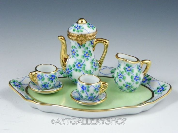 Limoges France Limited Ed. Peint Main DOLLHOUSE MINIATURES TEA ...
