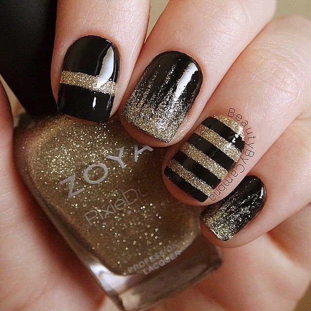 Black and gold nails using Zoya Tomoko and OPI Black Onyx with a thick coat of…