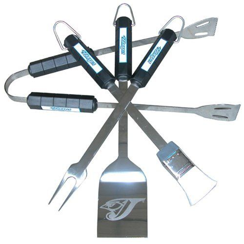 Toronto Blue Jays 4 Piece BBQ Set by NEOPlex. $35.95. This terrific stainless steel BBQ Tool Set includes a spatula, fork, tongs and basting brush - all with molded ABS plastic handles. The spatula is over 14 inches long with laser etching of your team logo.