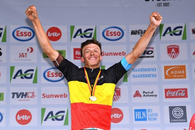He's a winner - he has the 2017 Belgian Road race title (Photo: Oliver Naesen was overjoyed to land the biggest result of his career)