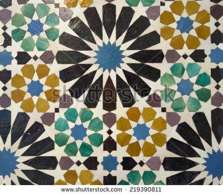 Decorative mosaics in Alhambra palace, Granada, Spain - stock photo