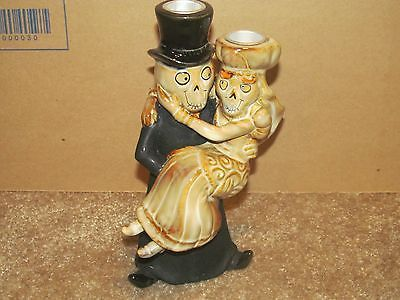 YANKEE CANDLE BONEY BUNCH HALLOWEEN WEDDING COUPLE CARRY TAPER CANDLE HOLDER