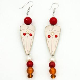 Summer Petal Earrings  #leather #laser #swarovski #coral #pearl #agate