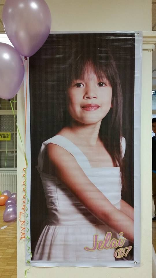 the birthday girl tarpauline printed photo.