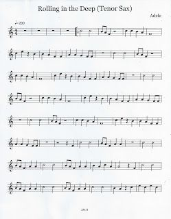 Flute & Tenor Sax Sheet Music :): Rolling in the Deep (Tenor Sax)