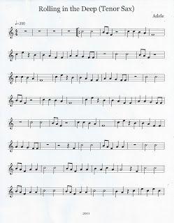 Flute & Tenor Sax Sheet Music :): Rolling in the Deep (Tenor Sax)