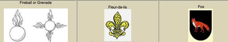 "The symbol of the fireball symbolizes those who had experienced terror while under siege or a person who had survived the danger of bombshells in battle.  Fleur-De-Lis provides a stylized form of the lily. It is the floral emblem of France and is known as the ""flower of light."" It may also include the sixth son pose.  The fox is a symbol for a person of his wisdom, ingenuity, wit and wisdom for his use own defense."