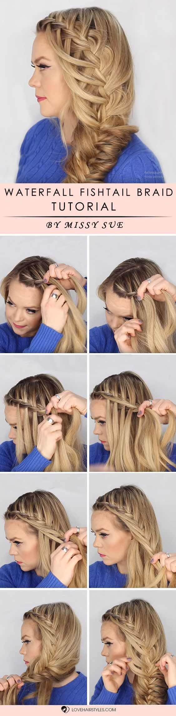 How to braid hair? We all ask this question from time to time, especially when we tried it all already and simple curling and straightening is no fun any longer. We have step by step tutorials that will teach you how to braid your tresses for a super adorable look. Check out our post! Waterfall Into Fishtail Side Braid #braidedhair #howtobraidhair #braidstutorial