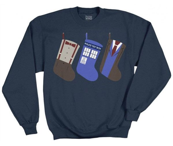 Deck the halls with Doctor Who everything! You can start with this cool Doctor Who Christmas Stockings Blue Sweater. This sweater features stockings of the 10th and 11th Doctors as well as a TARDIS stocking. This sweater is bold enou