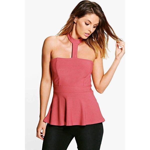 Boohoo Megan Choker Peplum Top ($20) ❤ liked on Polyvore featuring tops, antique rose, red crop top, red lace top, sequin crop top, peplum top and lace crop tops