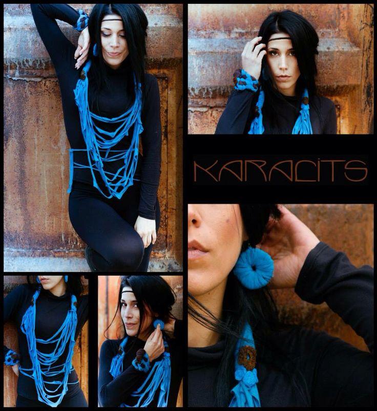 Turquoize fabric bracelet/earrings/neklace