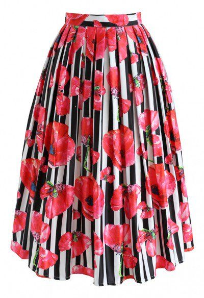 967626e2a0 Clothing Chicwish Womens Floral Strelitzia Flower Printed High Waist A-Line  Midi Pleated Skirt Skirts