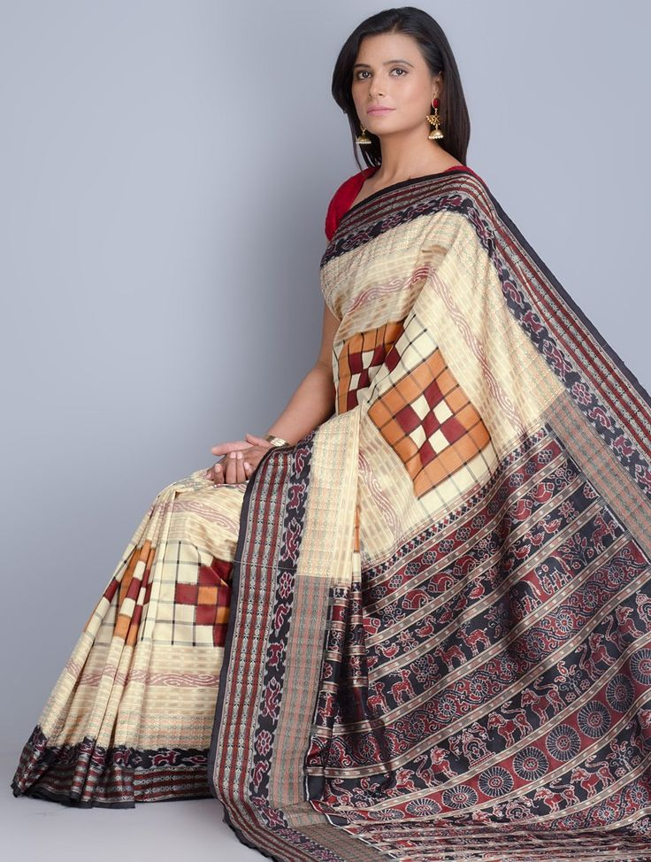 Buy Beige Multi Color Silk Ikat Handwoven Saree Sarees Woven Flamboyance Online at Jaypore.com