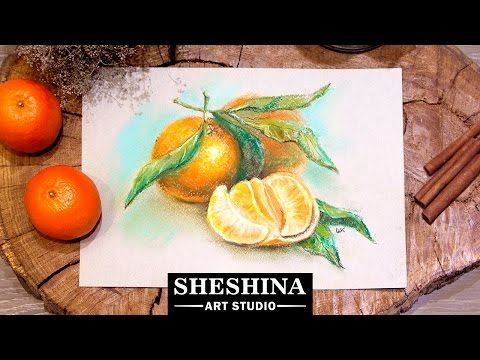 "How to draw a pineapple with soft pastels  Sheshina Ekaterina Materials: Soft pastel ""Gallery by MUNGYO"" (Made in Korea), blue paper for pastels (""Palazzo..."