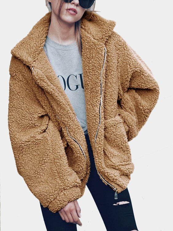 bba03af825204 Camel Cozy Oversize Zip-Up Faux Fur Coat - US 36.95