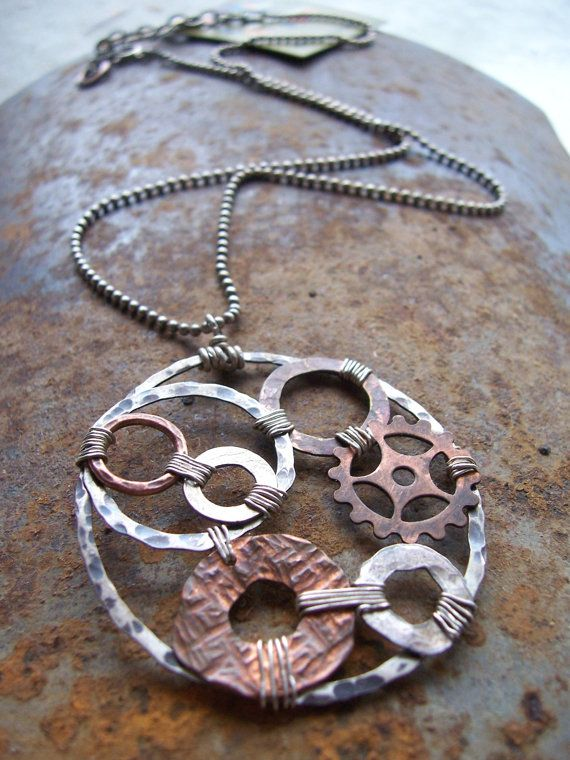 Hardware, Industrial Jewelry, Mixed Metals Pendant Necklace, Steampunk Jewelry .