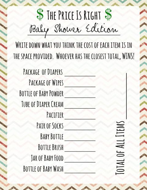 Price Is Right Baby Shower Game - Free Printable