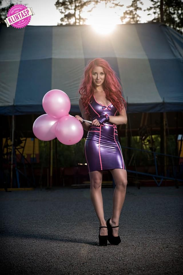 Elina Sjöberg wears a gorgeous Westward Bound's Lucky-Love Latex Dress to Circus Europa in Sweden.