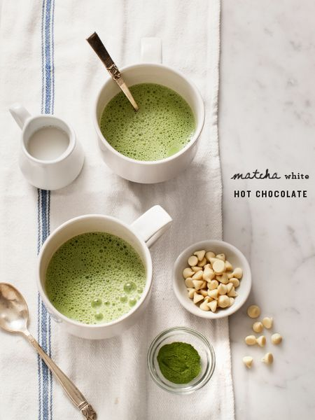 Matcha Hot White Chocolate / Find affordable organic Matcha powder for cooking and baking at http://shop.pekoesiphouse.com/shop/matcha/ #matcha #greentea #recipe