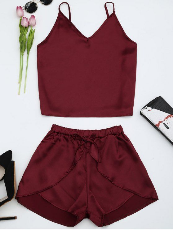 Cami Satin Two Piece Suits - WINE RED M
