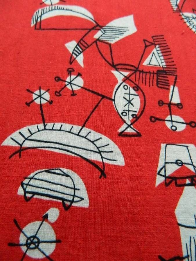 "Vintage 1950's cotton fabric - Lucienne Day style ""sputnik"" design on red - 1m"
