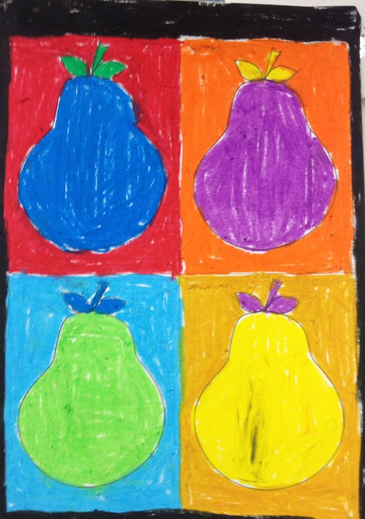 Pear pop art using bright oil pastels - Too Many Pears by Jackie French and Bruce Whatley