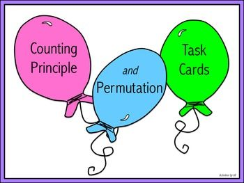 Do you need more questions to use to provide practice with the counting principle and/or permutations? Here you go!  These 36 task cards focus on using the counting principle and calculating permutations.  CCSS S-CP