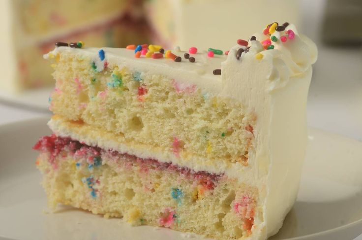 This celebration cake folds candy sprinkles into a fluffy white butter cake and then covers it with a tangy sweet cream cheese frosting.  From Joyofbaking.com With Demo Video