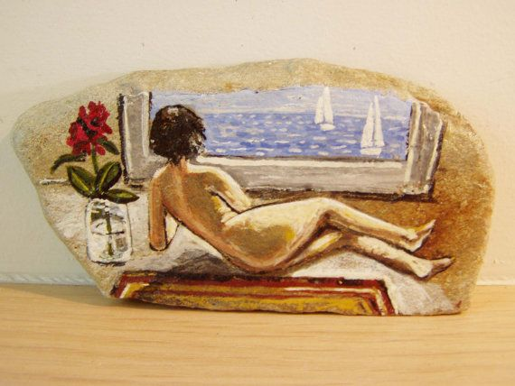 Nude folk painting folk painting on stone of by ArktosCollectibles, $34.50