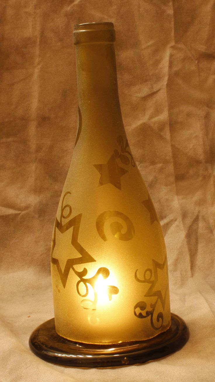Recycled wine bottle glasses - Holiday Sale Yellow Star Recycled Wine Bottle Tealight Candle Holder