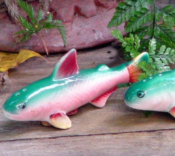 Something Fishy Salt And Pepper Shaker Set Japan Bone China Kitchen Kitsch Vintage 1960s
