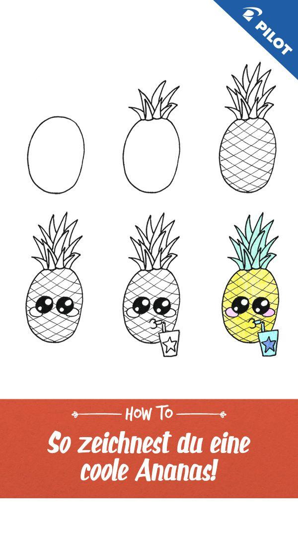 Mit Dieser Zeichen Anleitung Zeigen Wir Dir Wie Du Ganz Einfach Eine Ananas Malen Kannst Sogar Eine Zeichenanleitungen Malen Und Zeichnen Zeichnen Anleitung