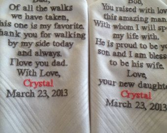 Set Of Two Personalized Wedding Hankie S Father The Bride Groom Gifts Hankerchief Hankies That Was Even My Date