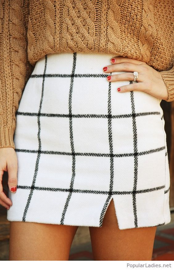 plaid-short-skirt-with-a-brown-sweater