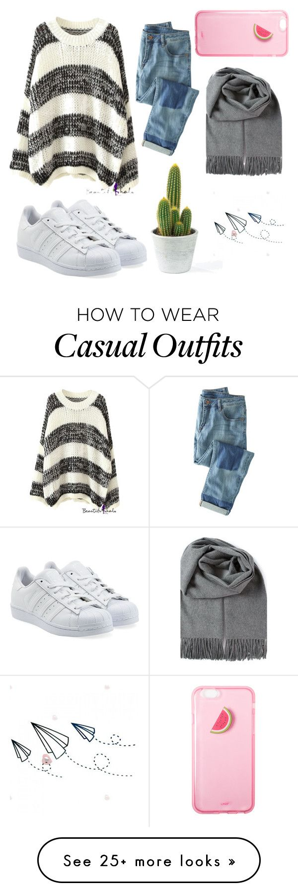 """Casual ☁️"" by distortionbie on Polyvore featuring Wrap and adidas Originals"