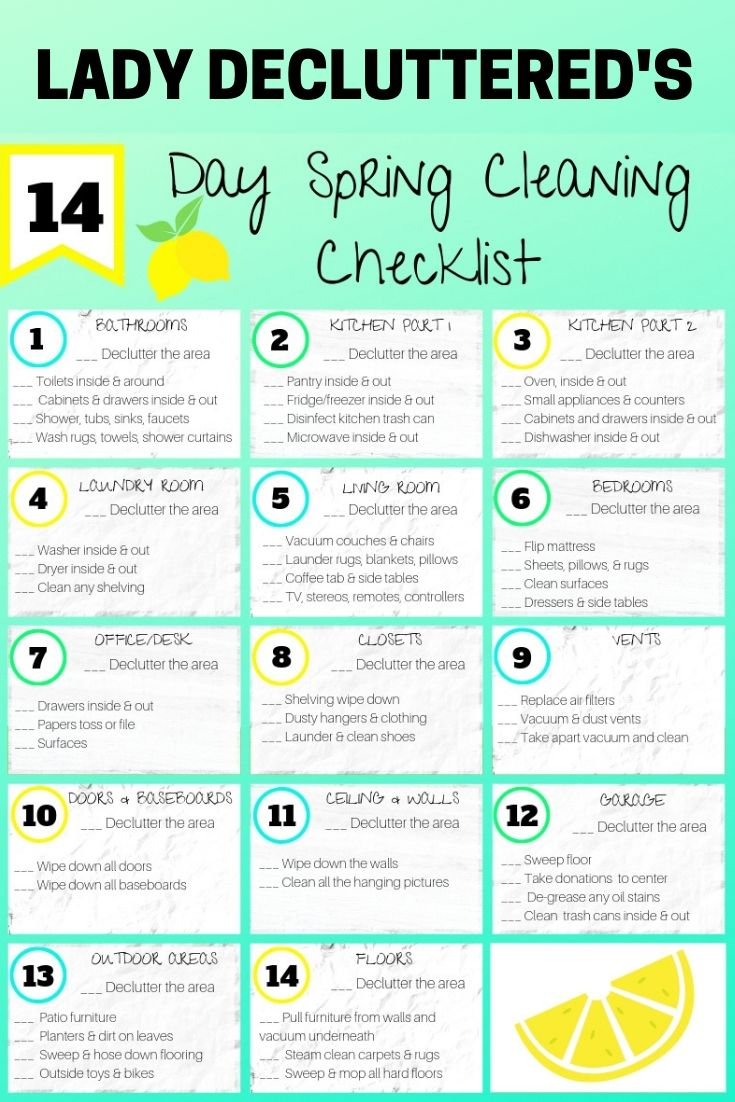 14 Day Spring Cleaning Checklist Spring Cleaning Checklist