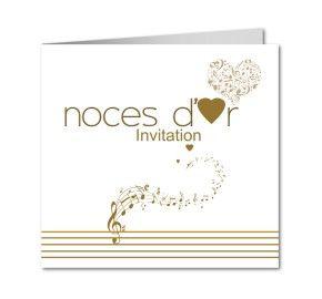 carte invitation anniversaire de mariage noces d or partition notes de musique - Ide Chanson Personnalise Mariage