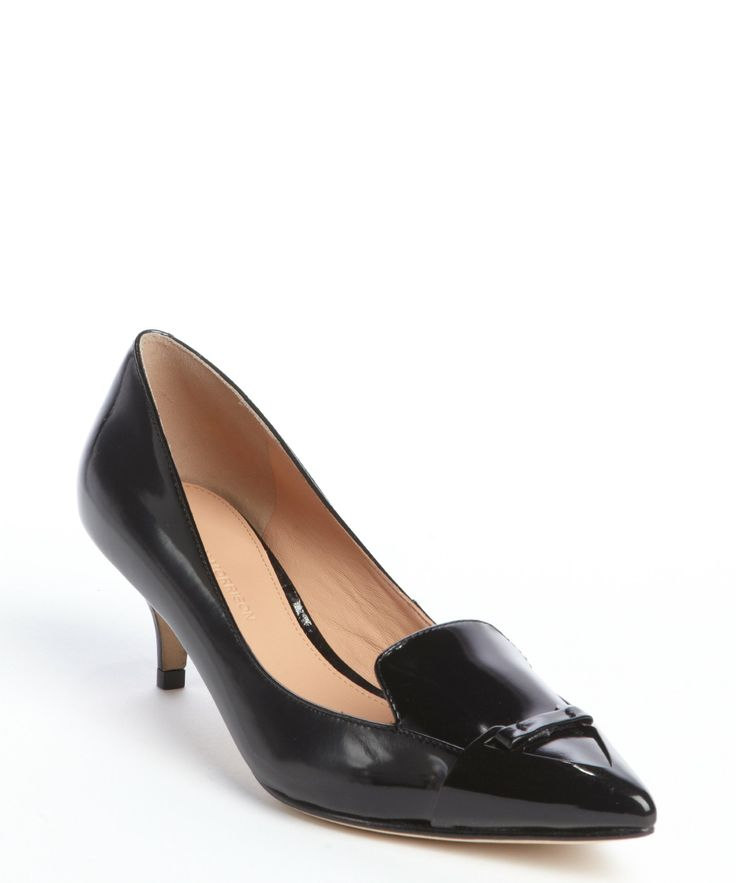 Sigerson Morrison black 'Pacifico' point toe mid-heel pumps | BLUEFLY up to 70% off designer brands