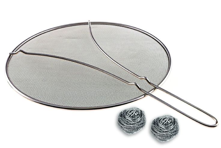 "Premium Splatter Screen 13"". Avoid Splatter with Ultra Fine Mesh, Perfect For Frying Pans. Helps Reduce Cleaning. Multi-use with Resting Feet. 2 x FREE Steel Scrubs For Easy Clean & Dishwasher Safe"