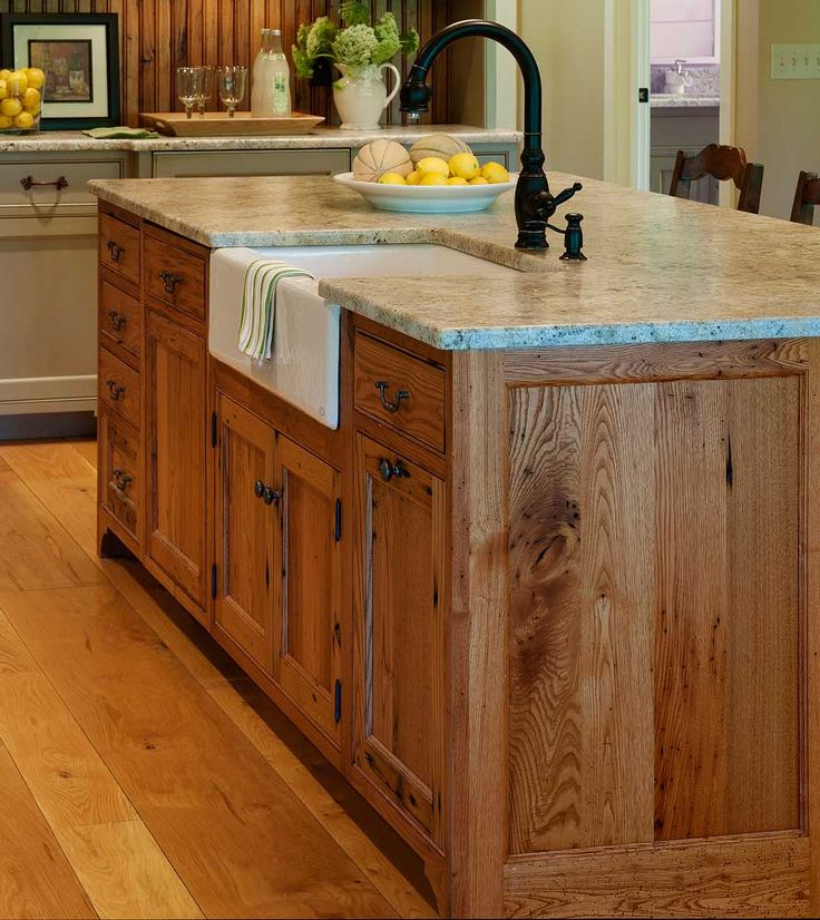 Substantial Wood Kitchen Island With Apron Sink Single Handle Rubbed Bronze Tall Faucet