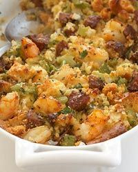Corn Bread Stuffing with Shrimp and Andouille // More Chefs Holiday Recipes: http://www.foodandwine.com/slideshows/chef-holiday-recipes-made-easy #foodandwine