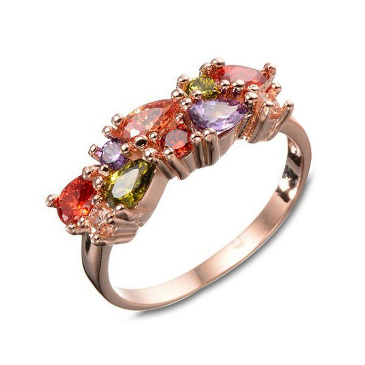 Aliexpress.com: Comprar Jenia nuevo llegado mulit diamante cz circonio cúbico encanto los anillos de boda para las mujeres oro rosa de color de regalo kr211 de wedding rings for women fiable proveedores en jenia jewellery Store